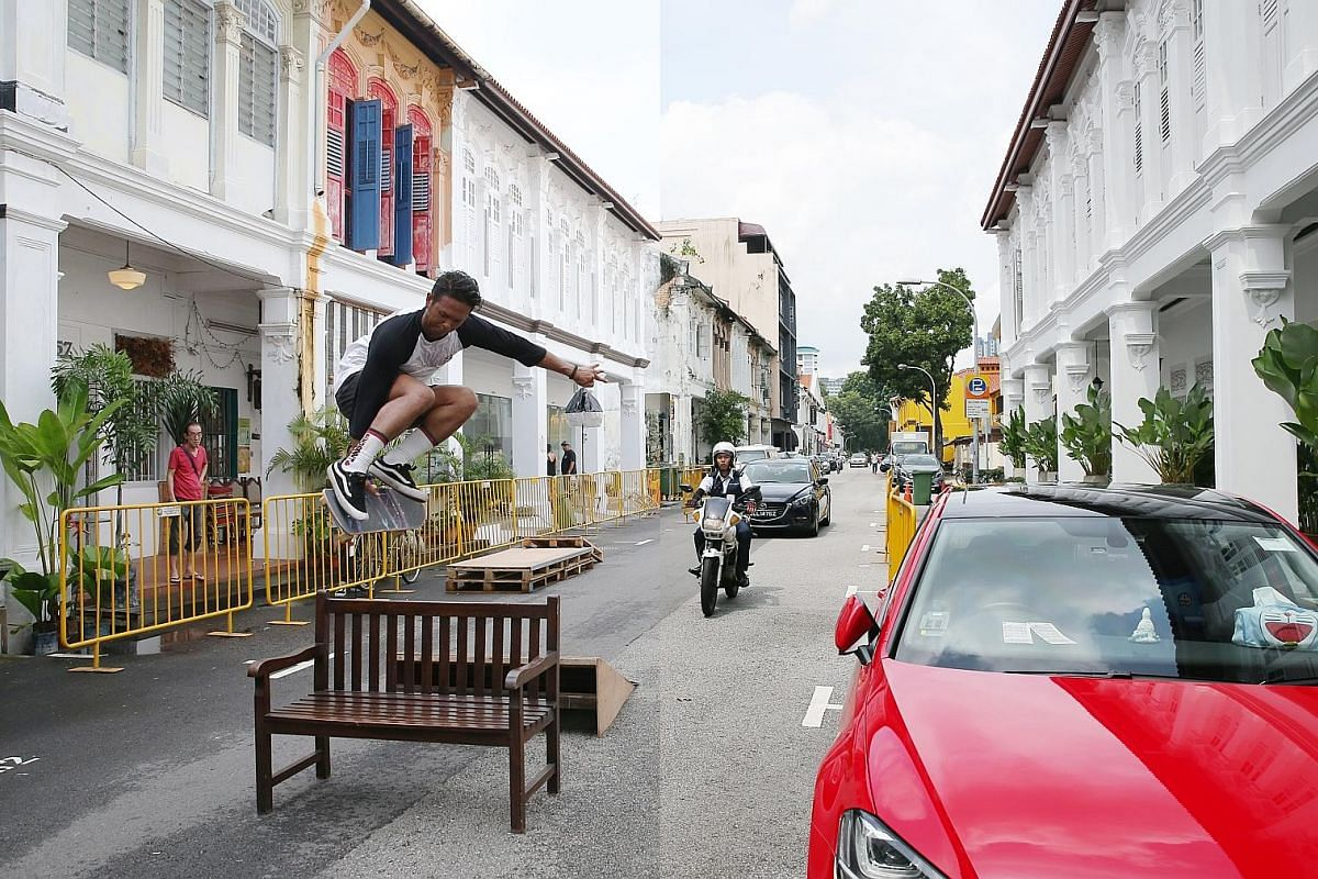 1.08pm, Jan 20, 2018 (right): The usual flow of traffic on a Saturday on Aliwal Street. 4.26pm (left): A skateboarder flies through the air over a bench in the middle of the road - and yes, it's within the law. The road and carpark are temporarily closed