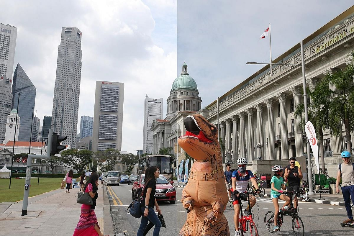 9.52am, Jan 28, 2018 (right): Joggers, cyclists, trishaw riders and many on personal mobility devices - as well as a T-Rex on a skateboard - take over St Andrew's Road during the year's first Car-Free Sunday. It is helmed by Urban Redevelopment Authority