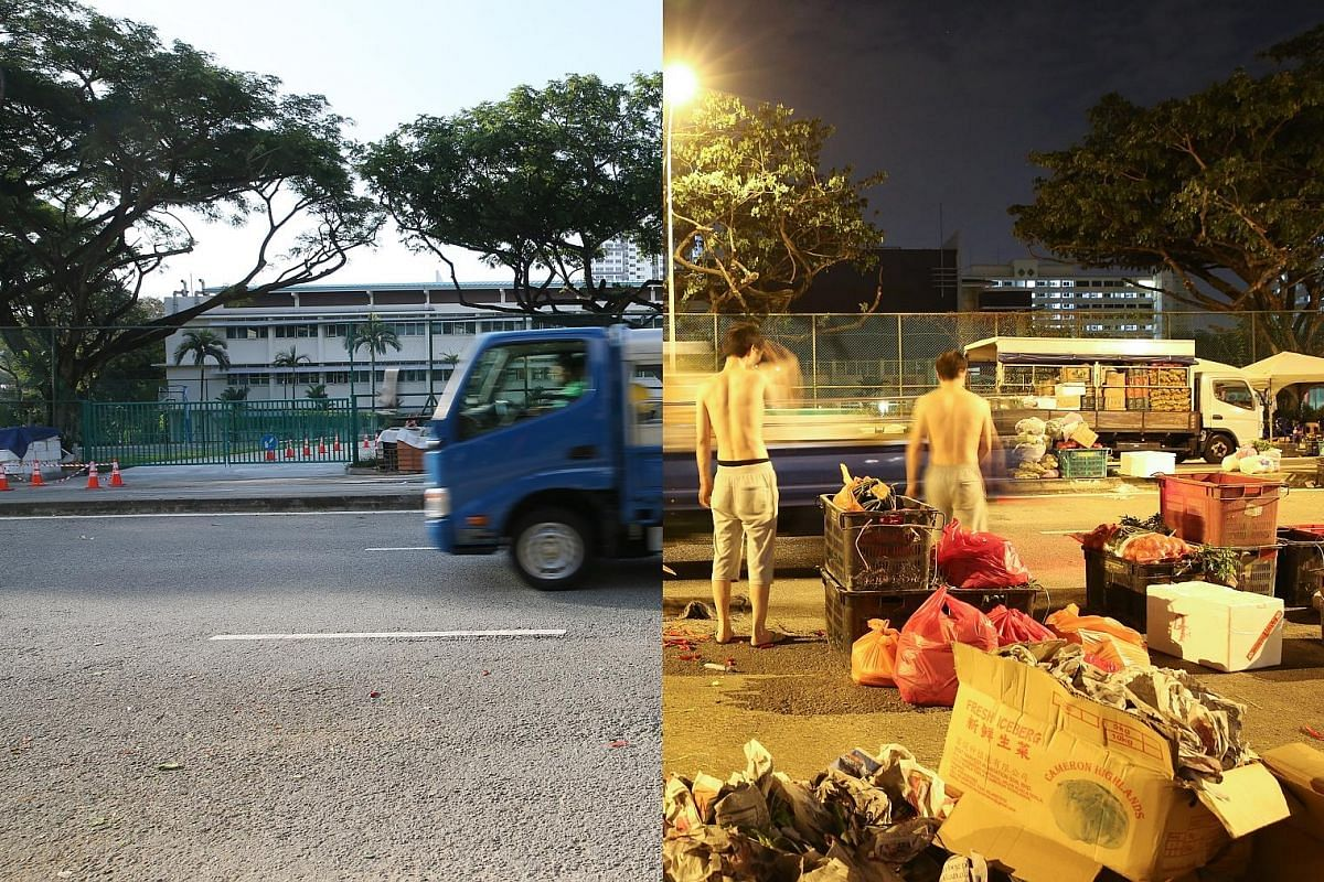 4.48am, Jan 9, 2018 (right): A makeshift market starts to pack up. The market, which forms on a road at Toa Payoh East before midnight, sells vegetable produce to market stall holders and a handful of early risers, mostly aunties out for a bargain. The ve