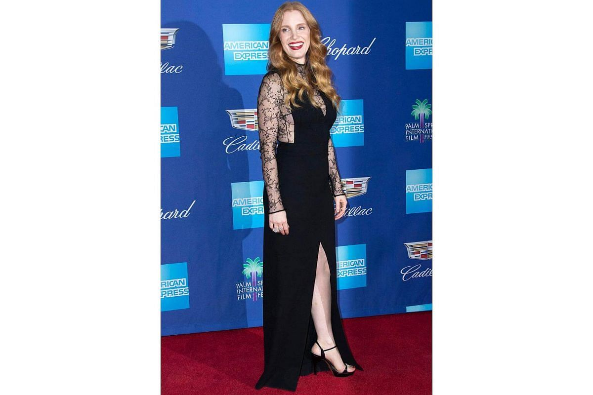 Jessica Chastain in a Givenchy Fall 2018 outfit, designed by Clare Waight Keller, at the 29th Annual Palm Springs International Film Festival Awards Gala.