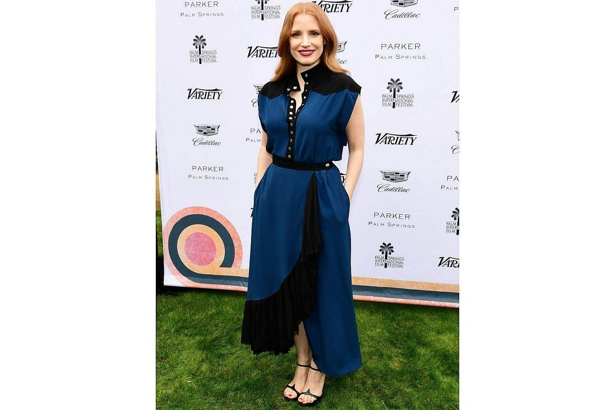 Jessica Chastain in a Givenchy Fall 2018 outfit, designed by Clare Waight Keller, at Variety's Creative Impact Awards held during the 29th Annual Palm Springs International Film Festival.