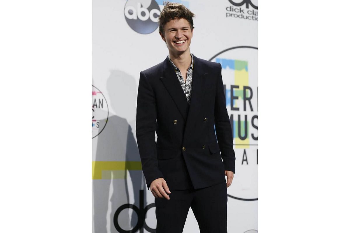 Actor Ansel Elgort in a Givenchy SS18 outfit, designed by Clare Waight Keller, at the 2017 American Music Awards held on November 19th, at Microsoft Theater in Los Angeles.