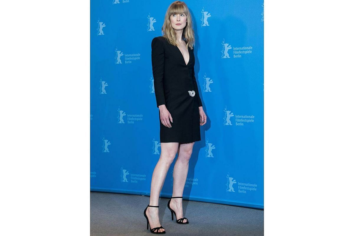 Actress Rosamund Pike in  a Givenchy SS18 outfit, designed by Clare Waight Keller at the 68th Berlinale International Film Festival.