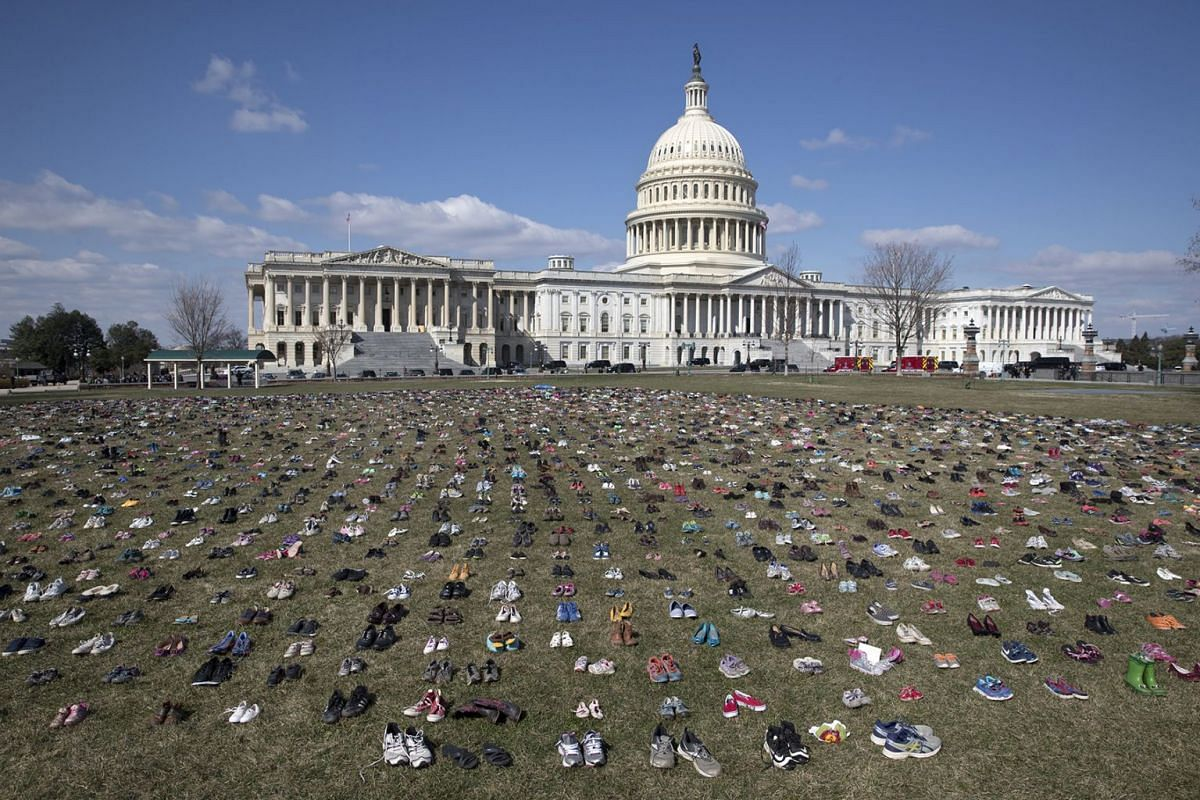 Approximately seven thousand shoes representing lost children to guns since the 14 December 2012 shooting at Sandy Hook Elementary School in Newtown, Connecticut, are seen on the East Front of the US Capitol in Washington, DC, USA, March 13, 2018. PH