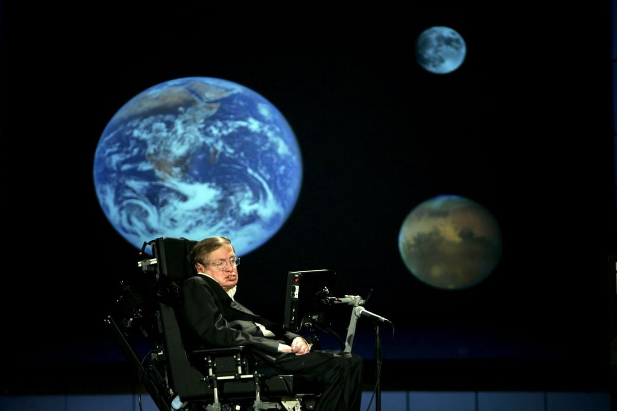 A photo released on March 14, 2018 shows Professor Stephen Hawking delivering a speech  at the The George Washington University in Washington, DC, USA, April 21, 2008. British renowned physicist Stephen Hawking has died at the age of 76, according to