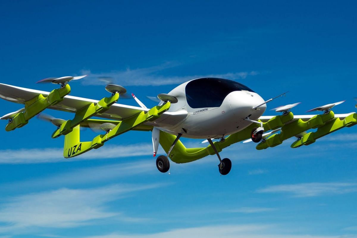 """A handout picture received on March 13, 2018 from New Zealand based aviation company Zephyr Airworks shows a """"Cora"""" electric powered air taxi in flight. PHOTO: ZEPHYR AIRWORKS VIA AFP"""
