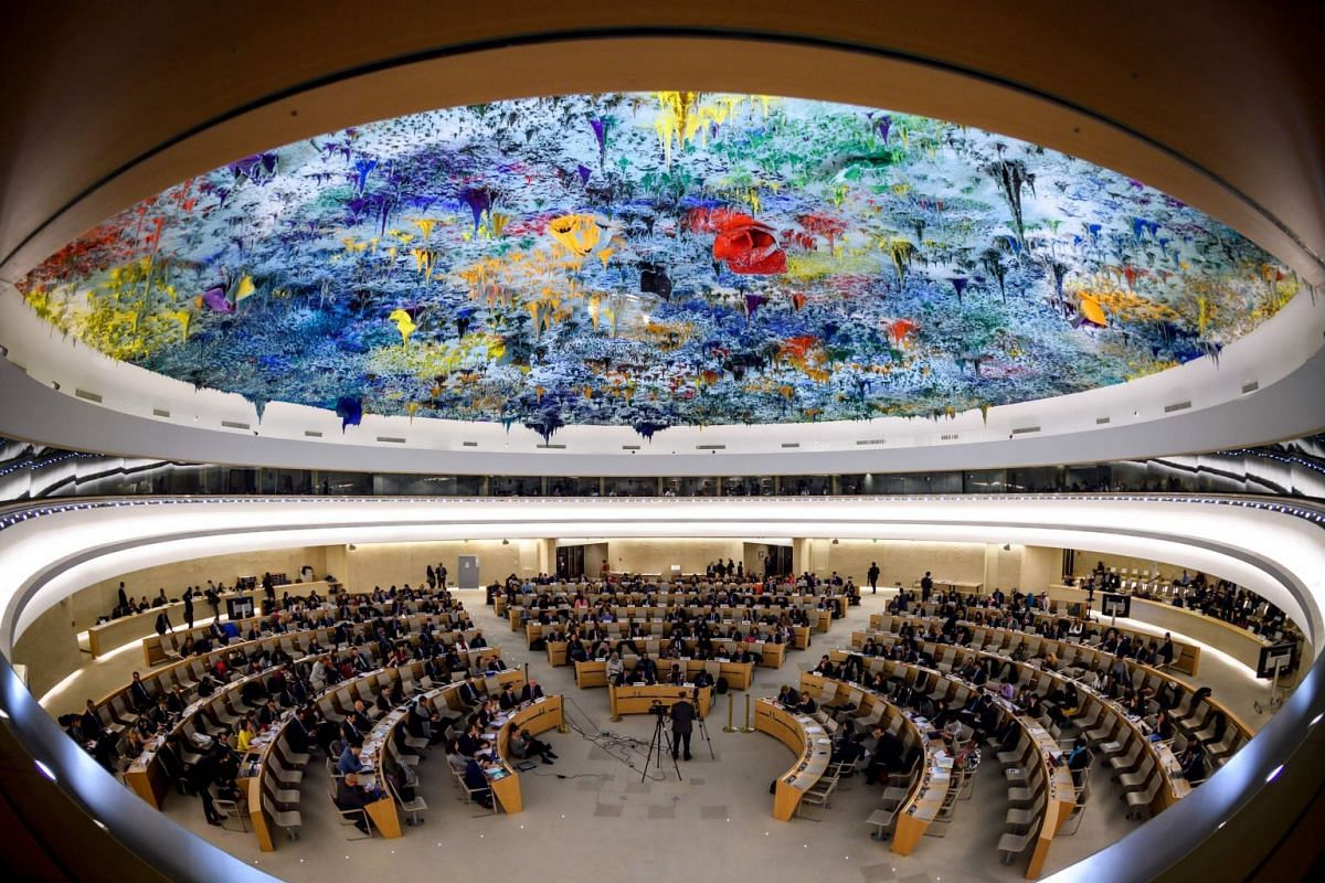 General view of the United Nations (UN) Human Rights Council during the presentation of report by the Commission of Inquiry on Syria, on March 13, 2018 in Geneva. PHOTO: AFP