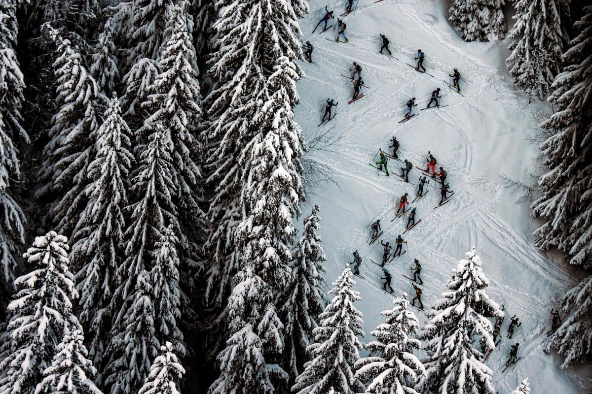 Skiers compete on March 14, 2018 during the first stage of the 33rd edition of the Pierra Menta ski mountaineering competition in Areches-Beaufort. PHOTO: AFP