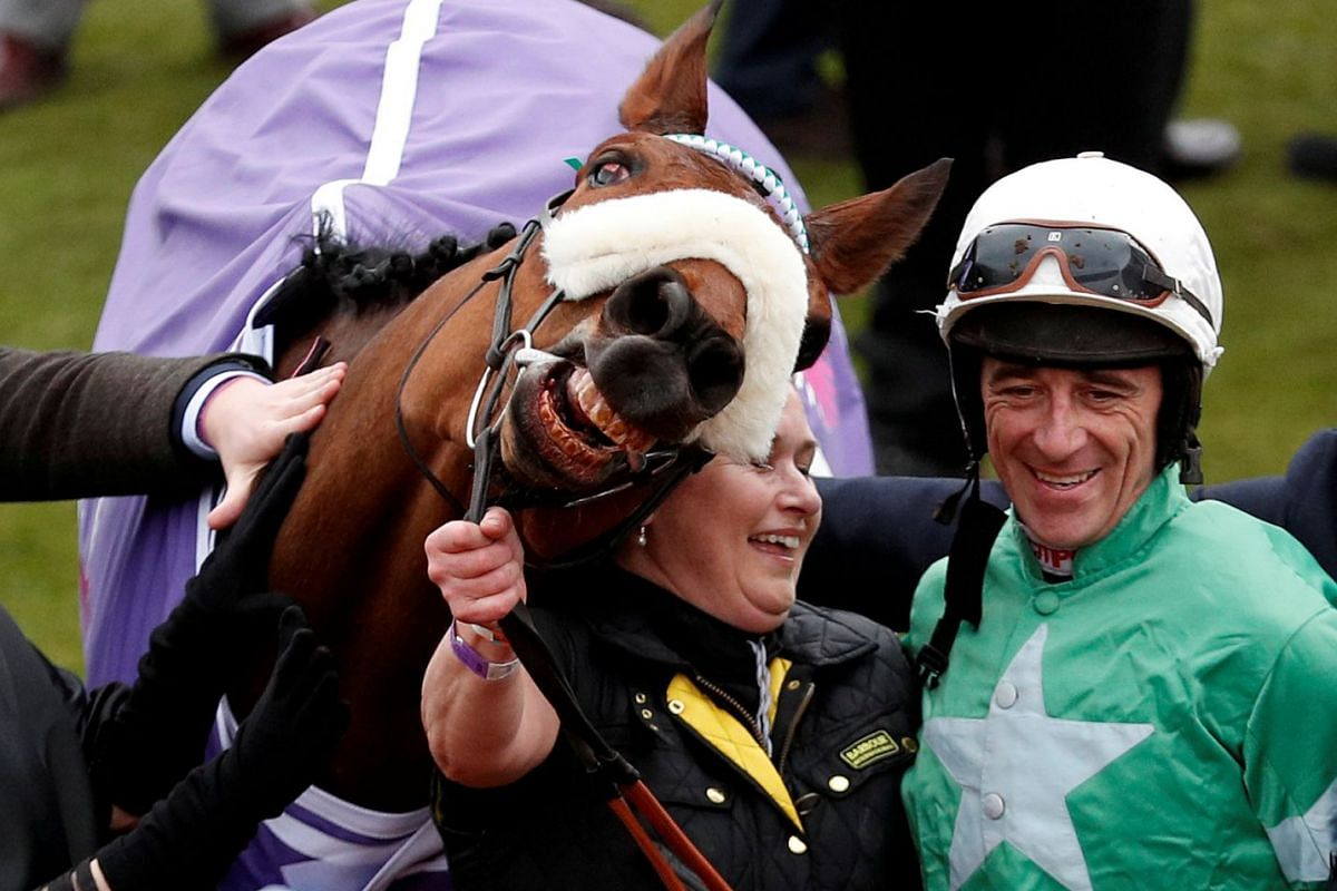 Davy Russell celebrates after riding Presenting Percy to victory in the 14:10 RSA Insurance Novices' Chase during the Cheltenham Festival at the Cheltenham Racecourse in Cheltenham, Britain on March 14, 2018. PHOTO: ACTON IMAGES VIA REUTERS
