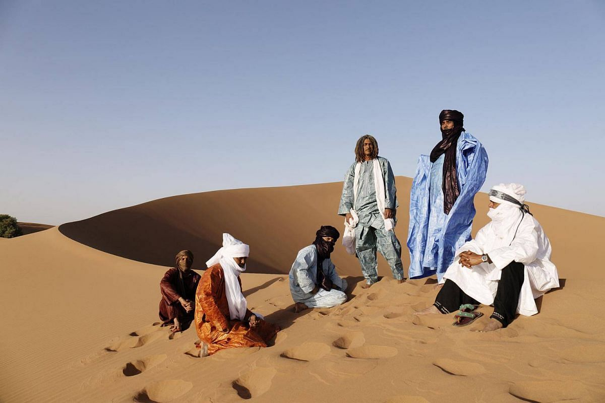 Tuareg desert blues band Tinariwen which have been around since the late 1970s, perform at the Esplanade Concert Hall on March 24, 2018.