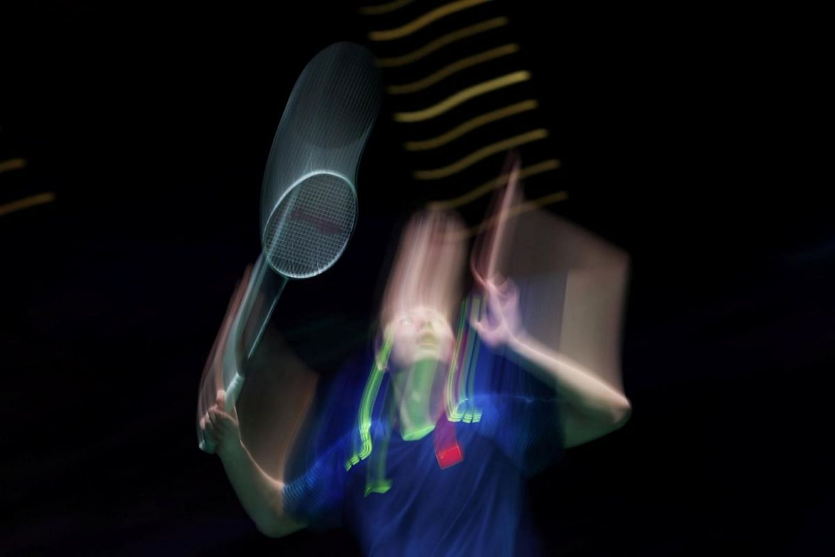 China's Shi Yuqi in action during in the men's singles final at the Yonex All England Open Badminton Championships on March 18, 2018.
