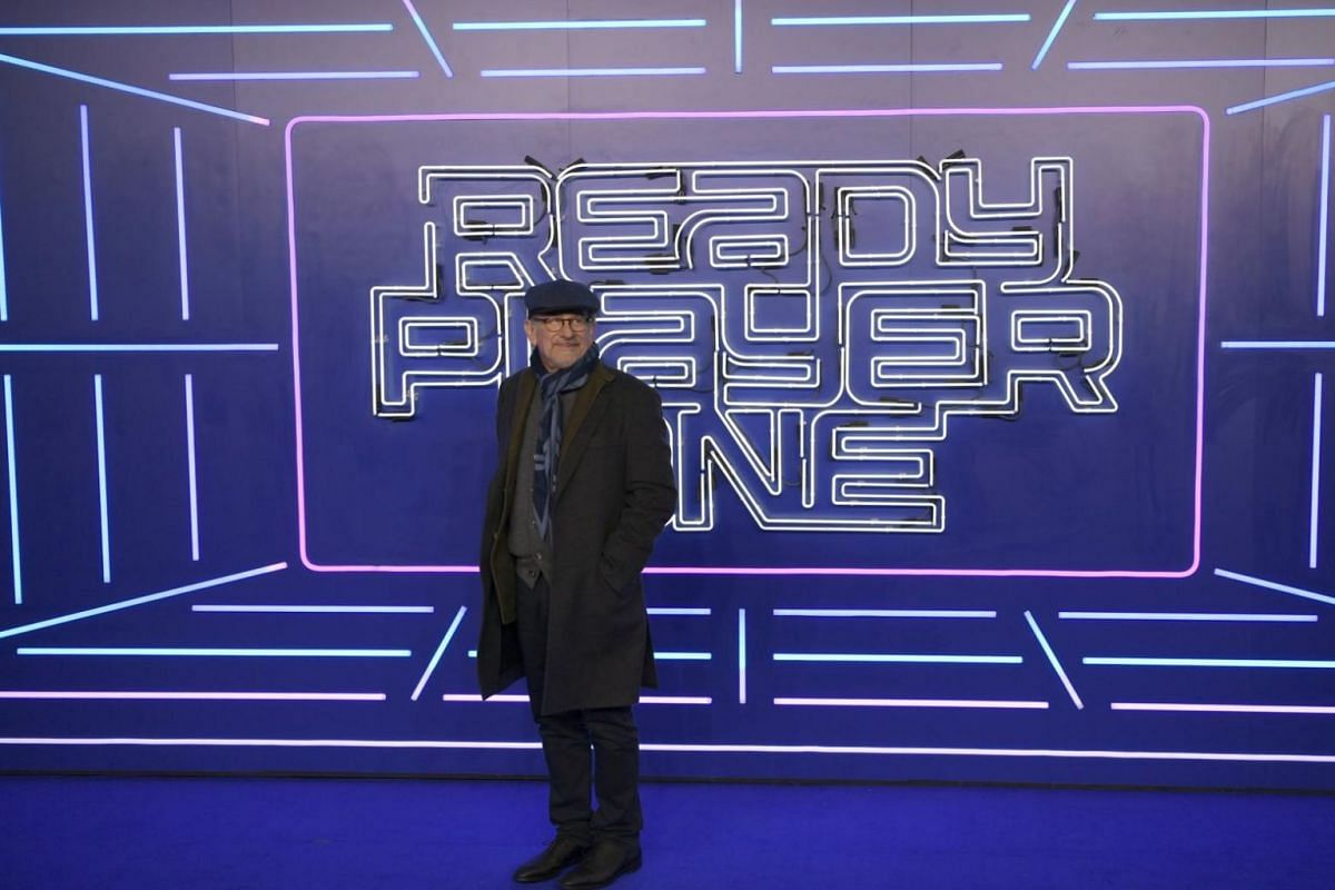 US director Steven Spielberg in front of a logo of his movie Ready Player One at the film's premiere in London.