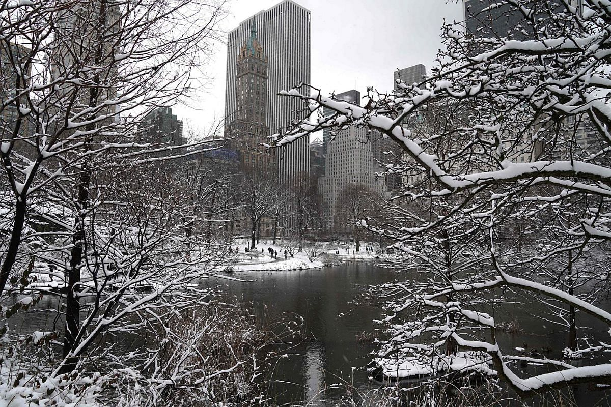 Snow in Central Park in New York on March 21, 2018.