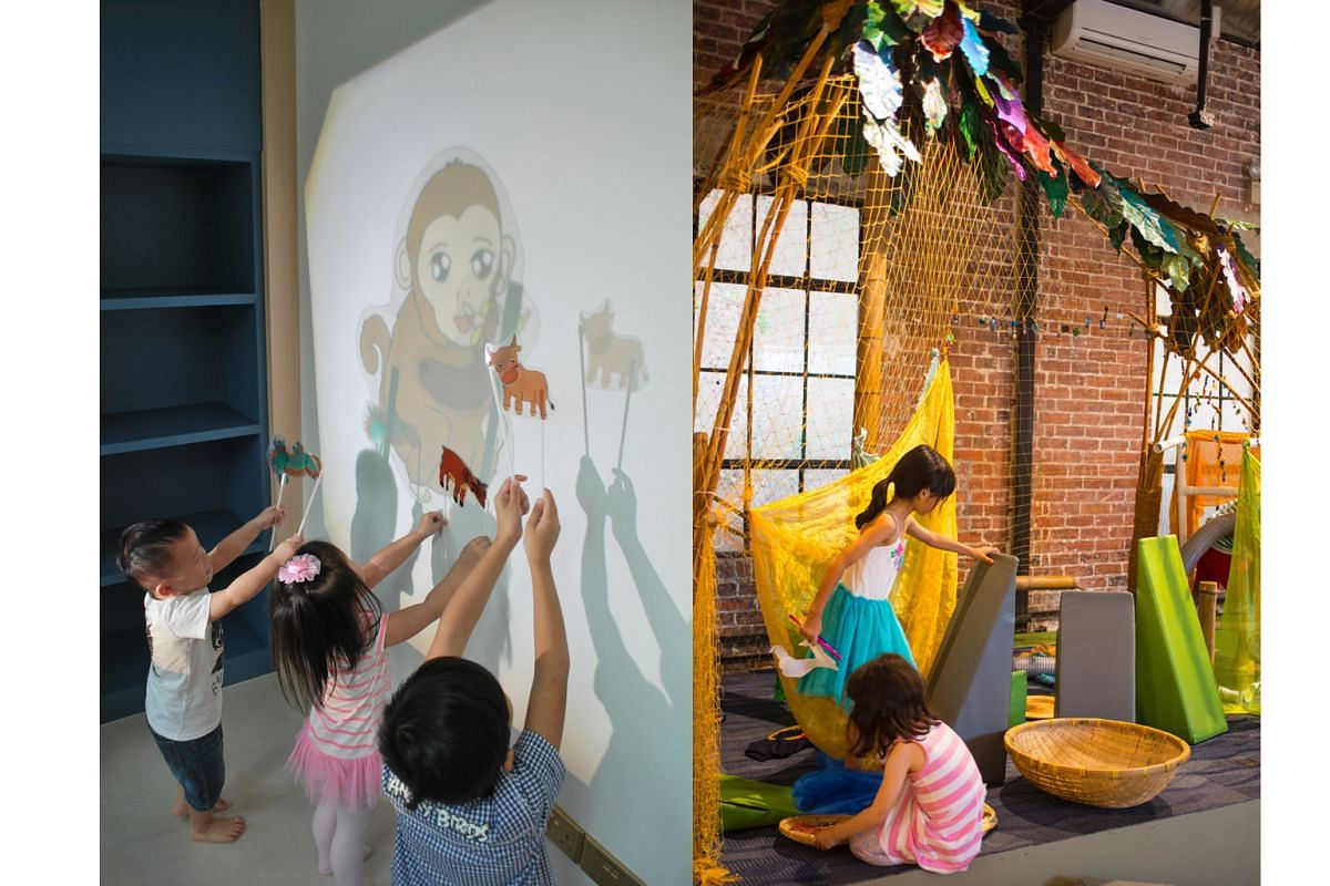 Interactive theatre for kids at the Esplanade (left) and stimulating play spaces at Playeum (right) at Gillman Barracks.