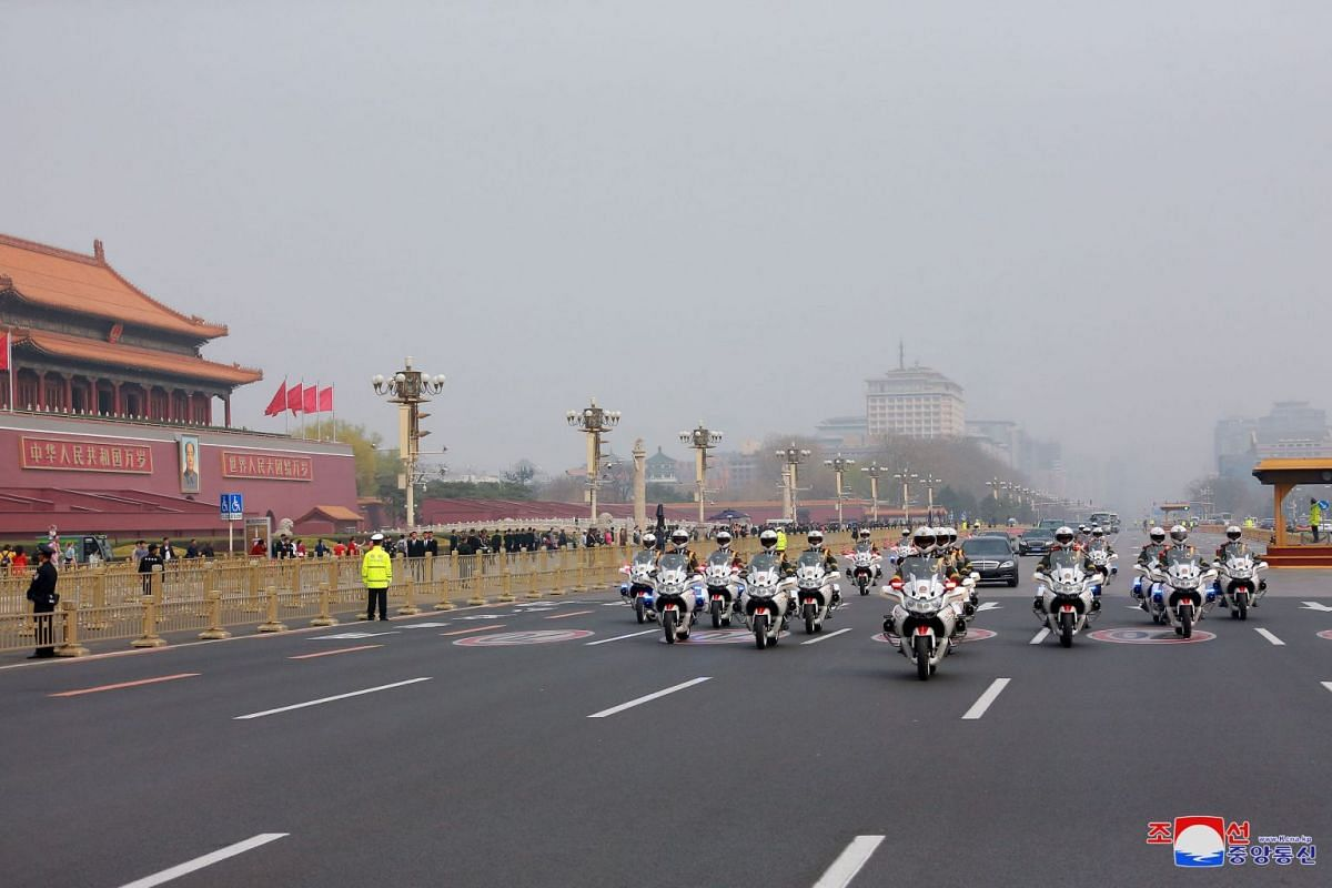 A view of the motorcade as North Korean leader Kim Jong Un paid an unofficial visit to Beijing, China.