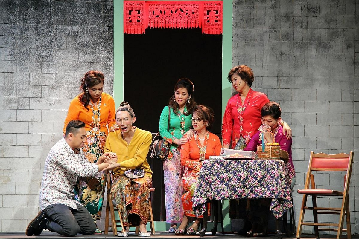 The Gunong Sayang Association performing the play Biji Mata Mak (Mother's Pet) in Baba Malay in 2014. The play is based on the real-life story of an unfilial son.