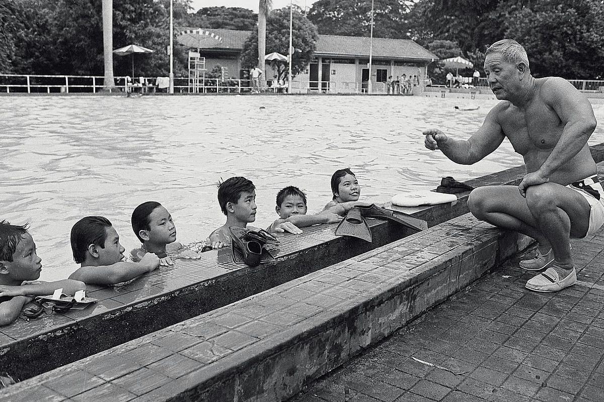 Ang Teck Bee, former national swimmer Ang Peng Siong's father, coaching at the Farrer Park swimming pool.