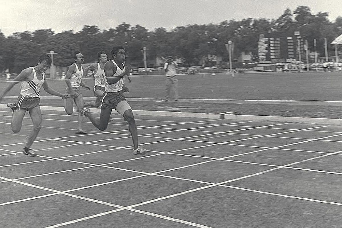 C. Kunalan winning the 100m in 10.6sec on the final day of the 1969 Singapore Amateur Athletic Association Pesta Sukan.