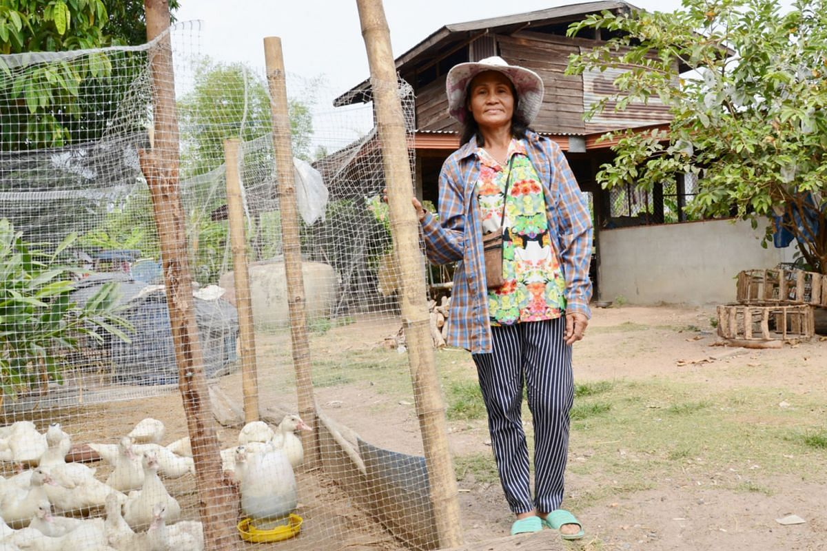 Ms Wilailak Phanphon at her village home in Kalasin province. The welfare recipient, who started to do organic farming last December, wants to upgrade her skills.