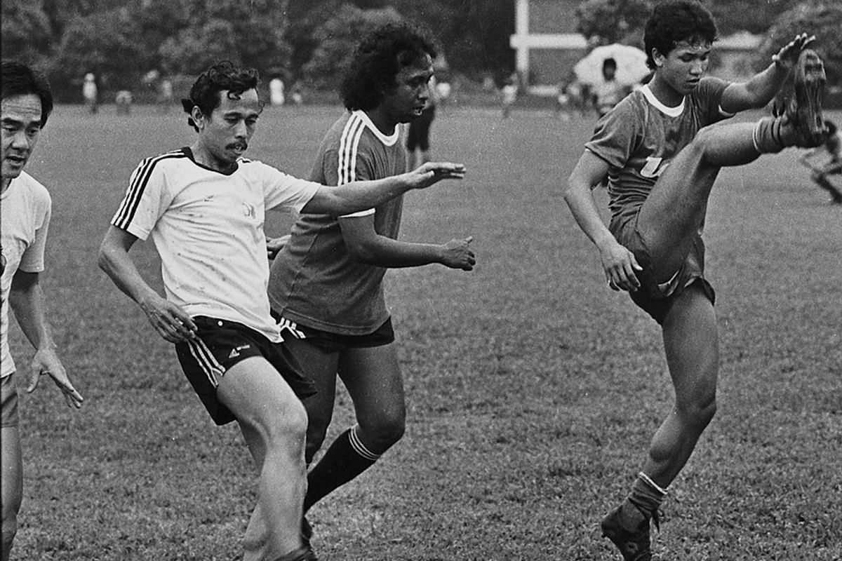 From right: Fandi Ahmad, Dollah Kassim and Fandi's uncle Abu Sujak training with the Ex-Internationals football team.