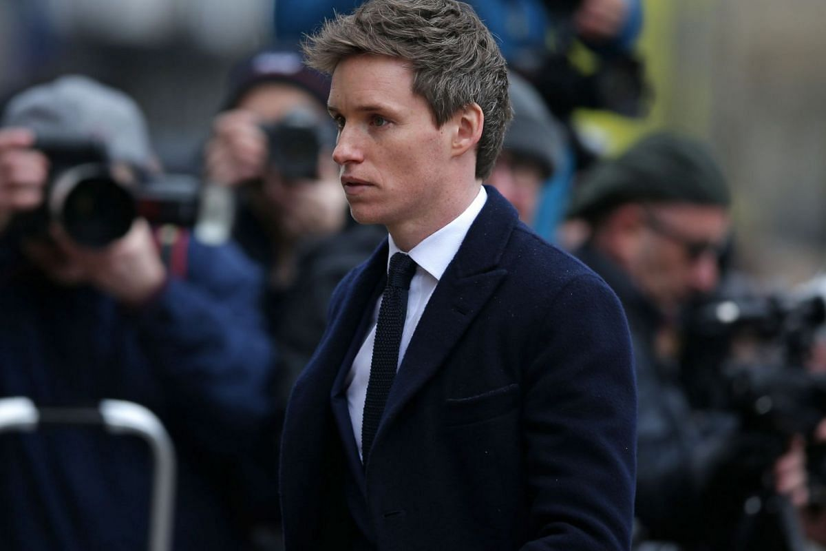 British actor Eddie Redmayne, who played Stephen Hawking in The Theory Of Everything, arrives to attend the funeral of the British scientist Stephen Hawking at the Church of St Mary the Great in Cambridge on March 31, 2018.