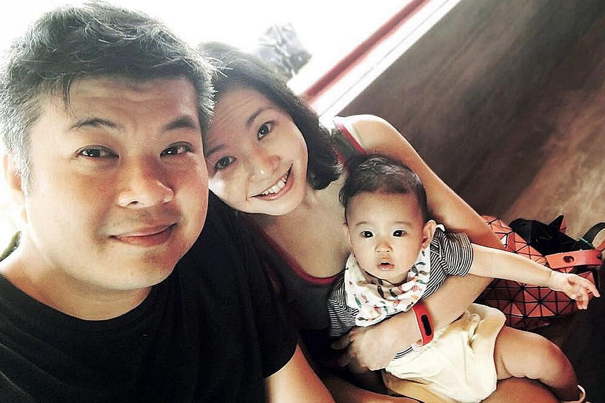 Mr Lim Chun Hong with his wife Melody Ho and daughter Amber.