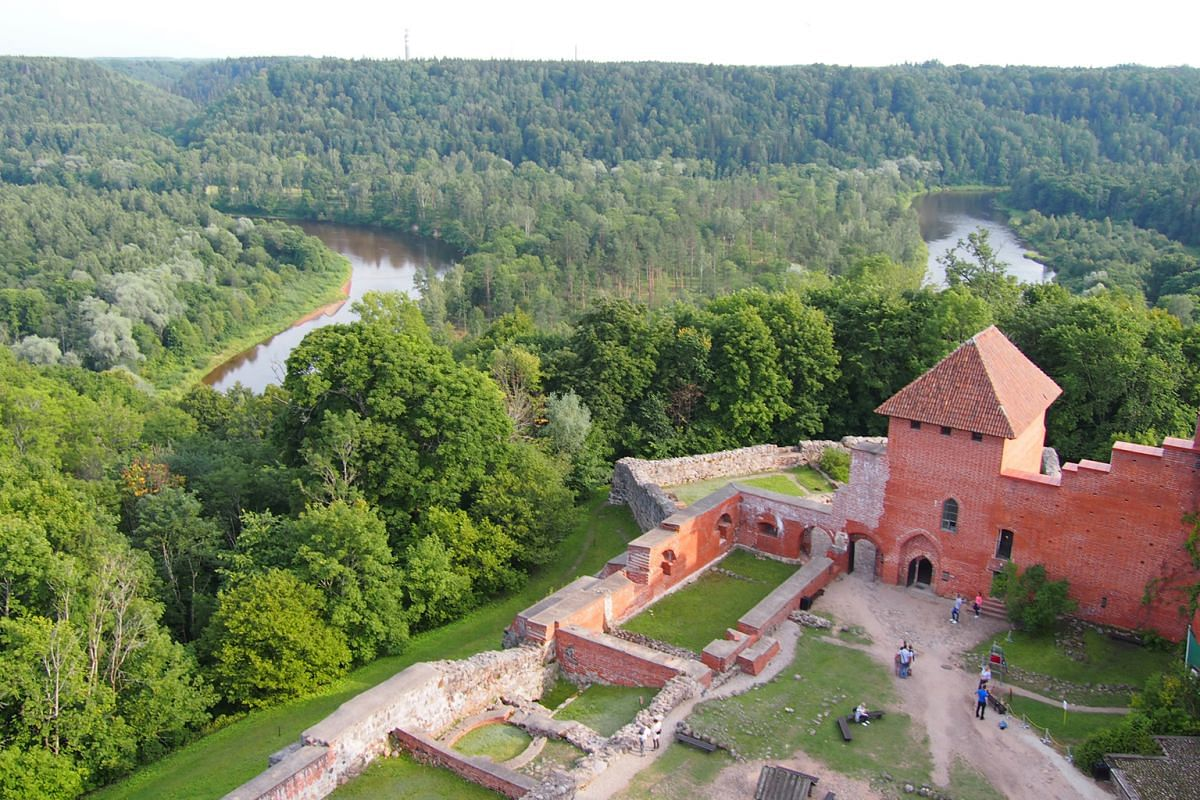Rolling forested hills surround Turaida Castle in the 44ha Turaida Museum Reserve outside Riga.