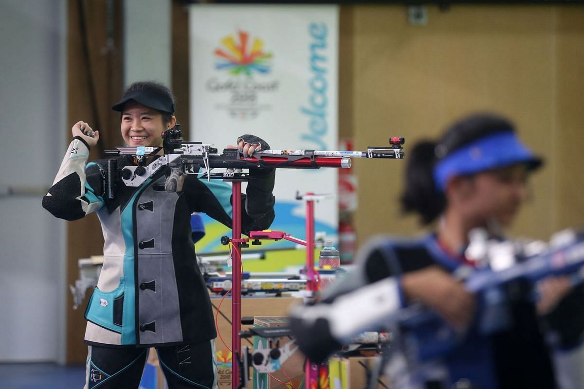Singapore shooter Martina Veloso was right on target on April 9, 2018, in the women's 10m air rifle event at the Commonwealth Games, winning Singapore's first gold medal in the Games on Australia's Gold Coast. PHOTO: THE STRAITS TIMES/ ONG WEE