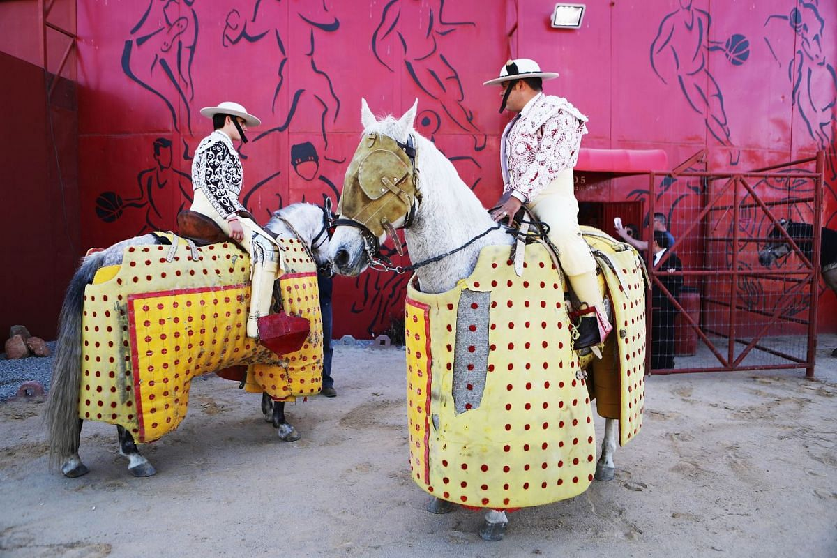 Horsemen prepare to enter the ring at a sold-out bullfight on April 8, 2018 in Tijuana, Mexico. PHOTO: GETTY IMAGES/AFP