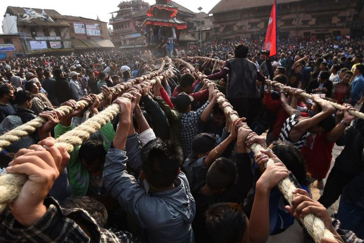 The festival, which begins on April 10, is celebrated for nine days by the ethnic Newar community in Bhaktapur.