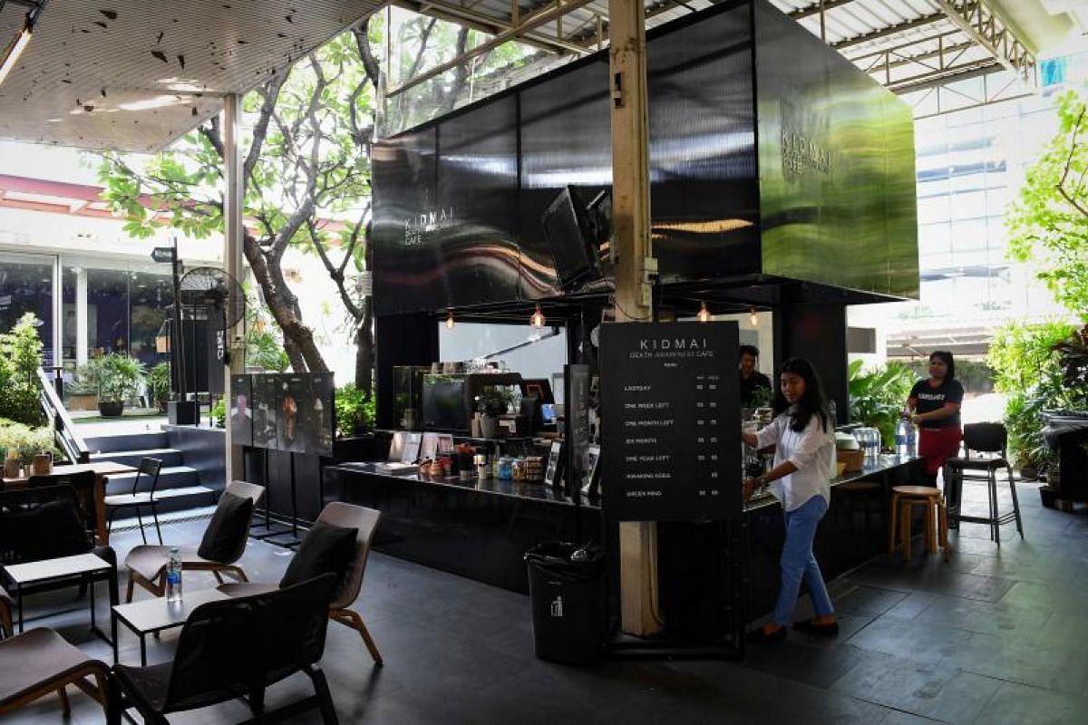 The coffee bar area at the Kid Mai Death Awareness Cafe in Bangkok.
