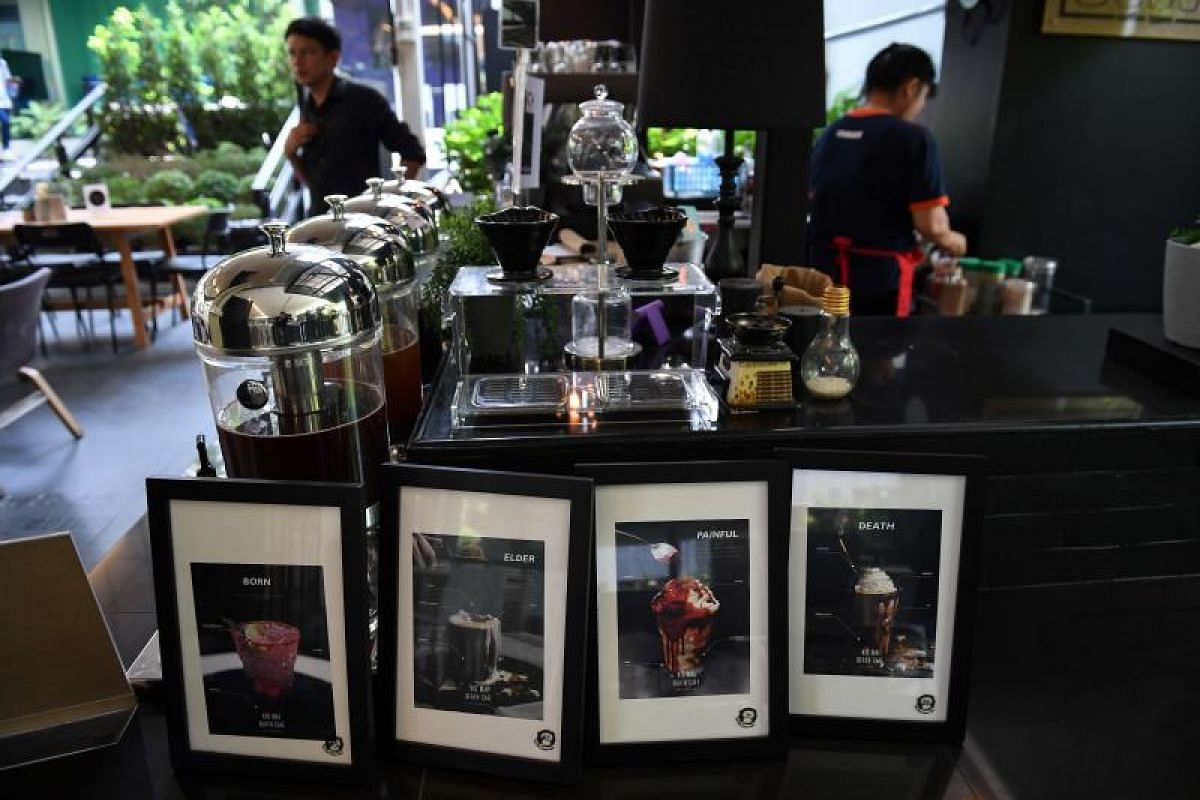 With drinks called Death and Painful on the menu and a skeleton splayed out on a couch in the corner, the meet-your-maker theme is alive and well at this open-air lunch spot in the Thai capital.
