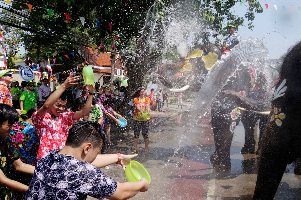 Elephants and people play with water during the celebration of Songkran Water Festival, to commemorate Thailand's New Year in Ayutthaya, Thailand April 11, 2018. PHOTO: REUTERS