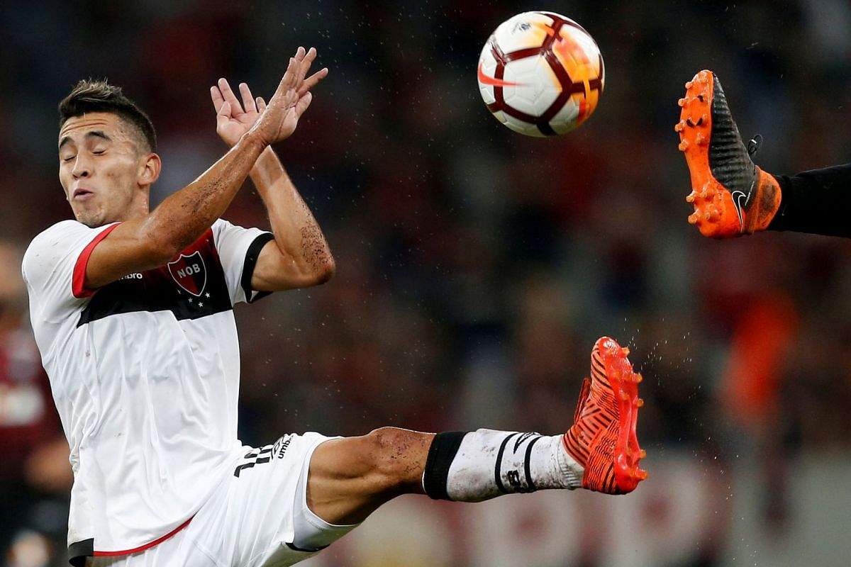 Joaquin Torres of Argentina's Newell's Old Boys in action against Brazil's Atletico Paranaense at the Arena da Baixada Stadium, Curitiba, Brazil on April 12, 2018. PHOTO: REUTERS