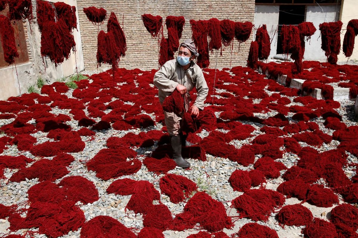 An Afghan worker hangs dyed wool to dry at the Afghanistan Rug and Carpet Center in Kabul, Afghanistan April 1, 2018. Picture taken April 1, 2018. PHOTO: REUTERS
