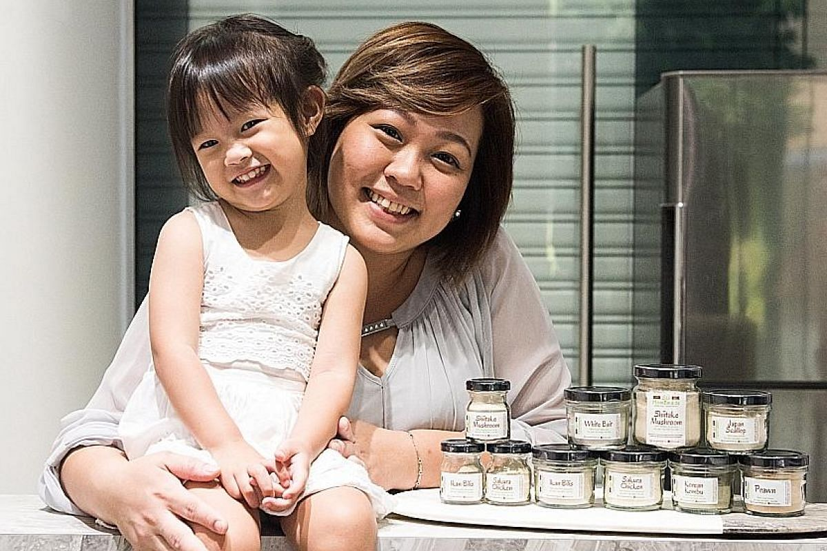 Ms Melody Zhuang Huiru (right, with her third child, seven-month-old Keily), co-founded The Baking Symphony, which sells pasta and noodles made from ingredients such as beetroot, sweet potato and blue pea flower. Lilo Premium Ikan Bilis Powder's Fern