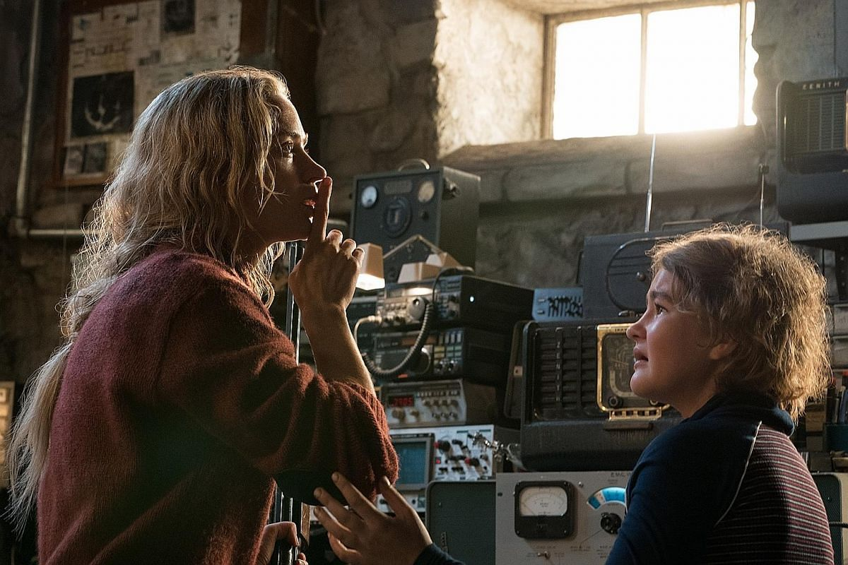 Emily Blunt (above left) and her daughter (Millicent Simmonds, right) have to stay very quiet to avoid drawing the attention of monsters in A Quiet Place.