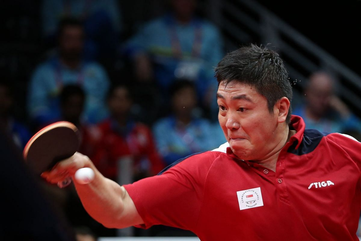 Gao Ning of Singapore in action against Nigeria's Quadri Aruna (not pictured) April 15, 2018, at the Commonwealth Games. He finally won his first men's singles gold medal after beating his opponent 4-2. PHOTO: THE STRAITS TIMES/ONG WEE JIN
