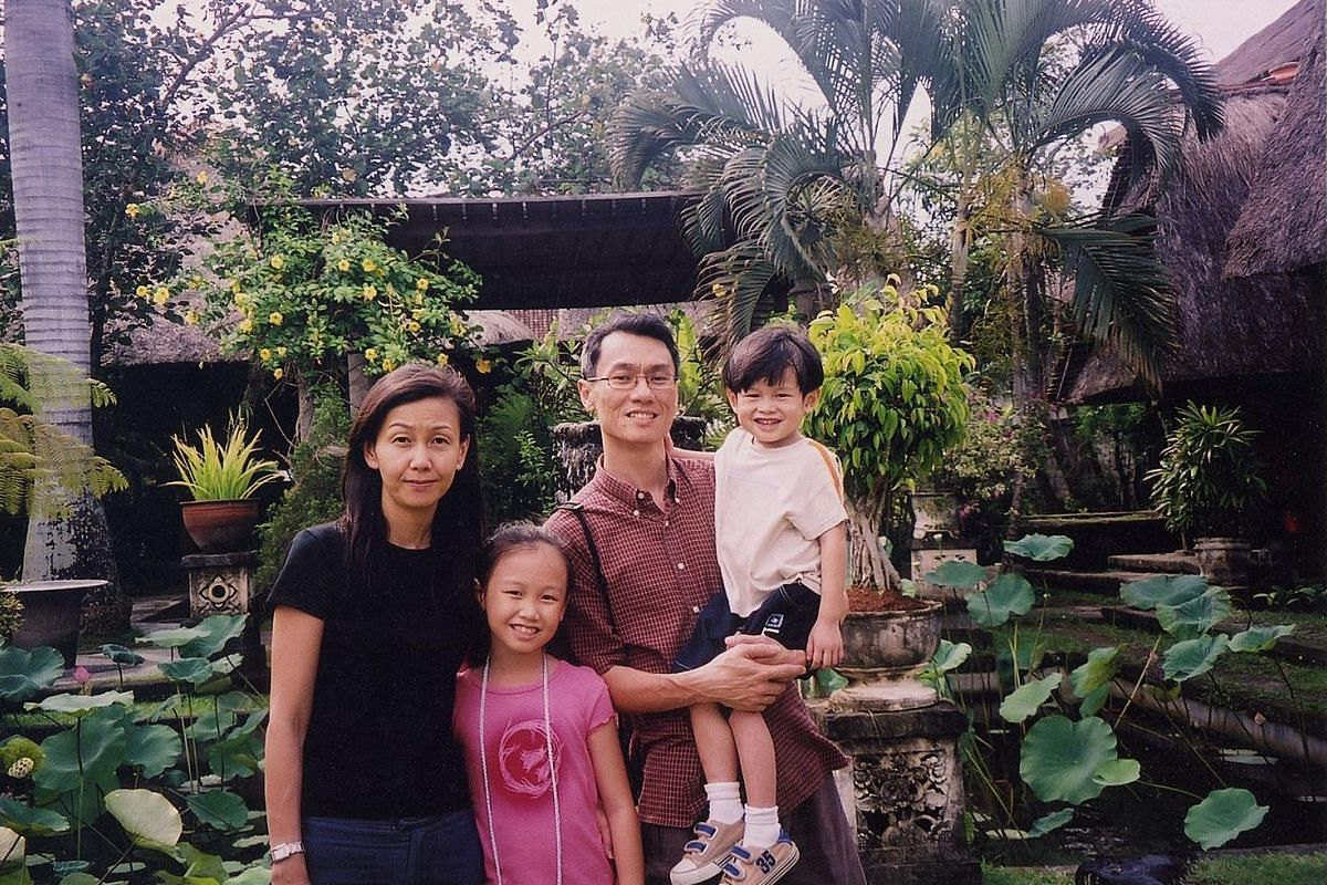 Mr Jason Wong in Bali in 2004 with his wife Donna Kng, daughter Sarah and son Samuel.
