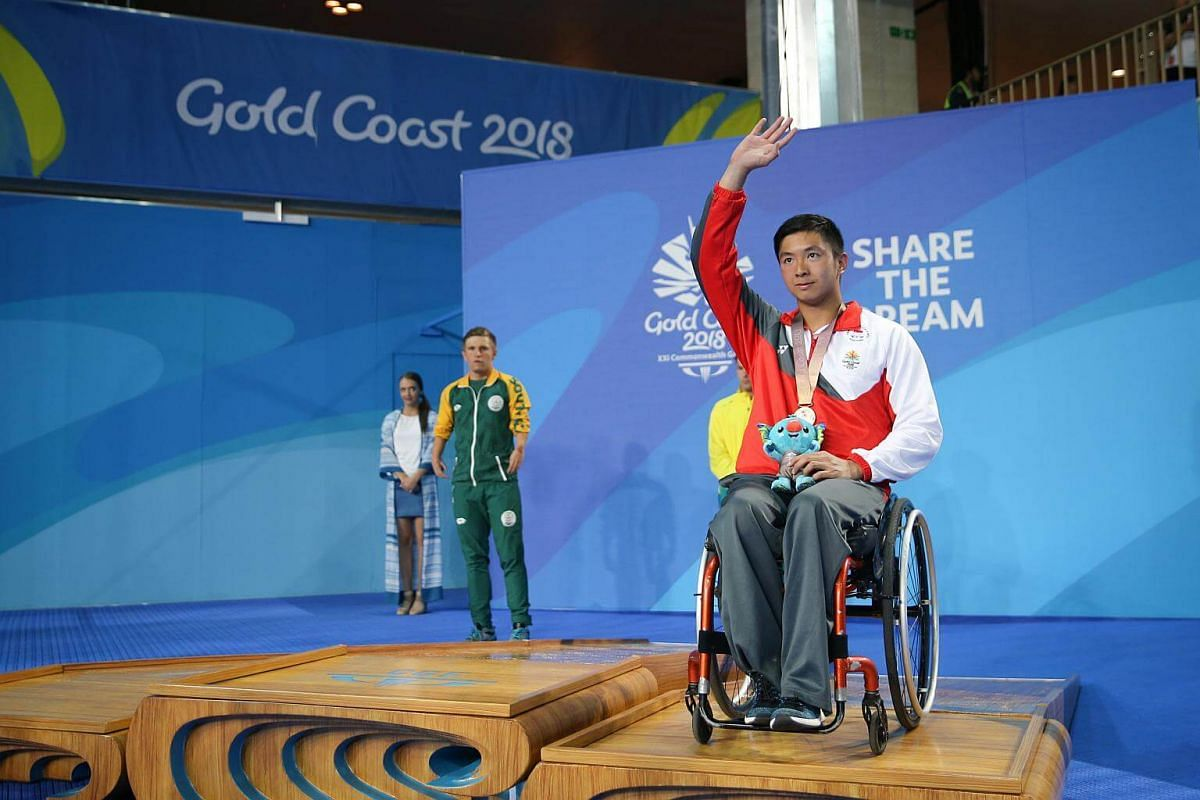 Singapore swimmer Toh Wei Soong won the bronze medal in the men's S7 50m freestyle final at the Gold Coast Commonwealth Games 2018 in Australia, on April 9, 2018.