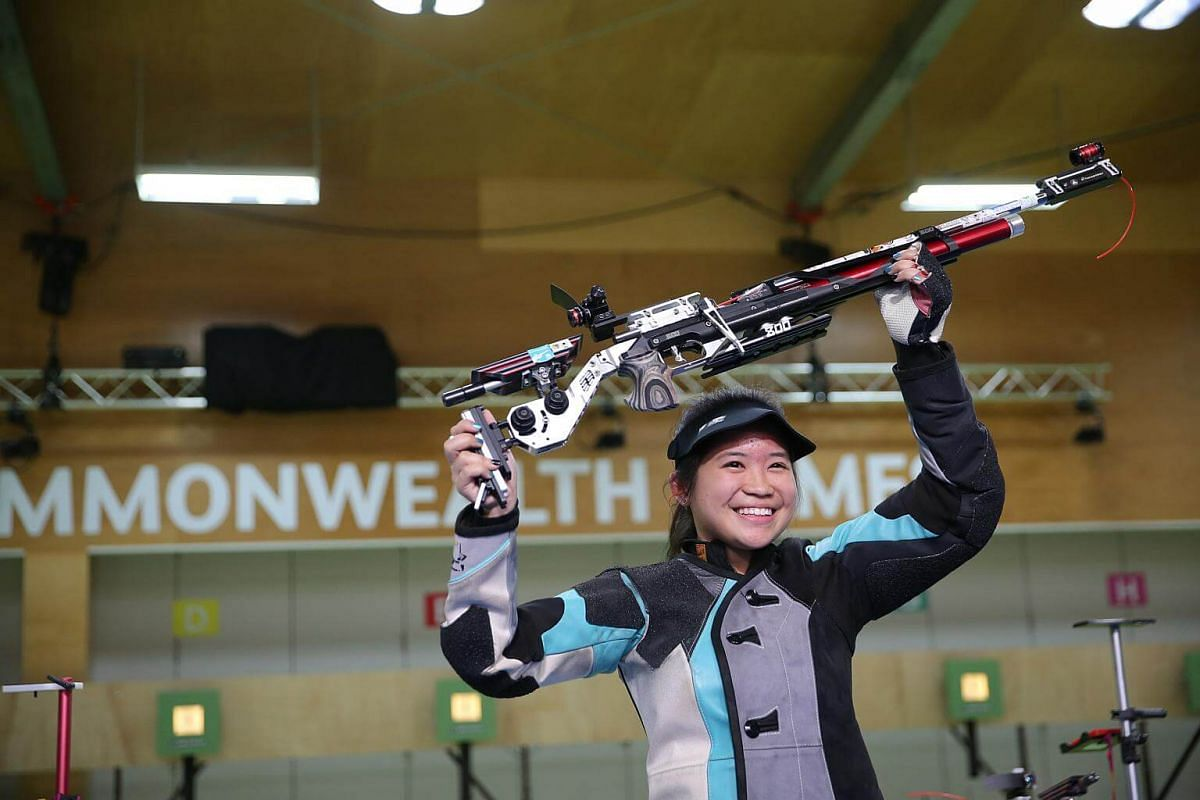 Martina Veloso won the gold medal at the women's 10m air rifle at the Gold Coast Commonwealth Games 2018 in Australia, on April 9, 2018.