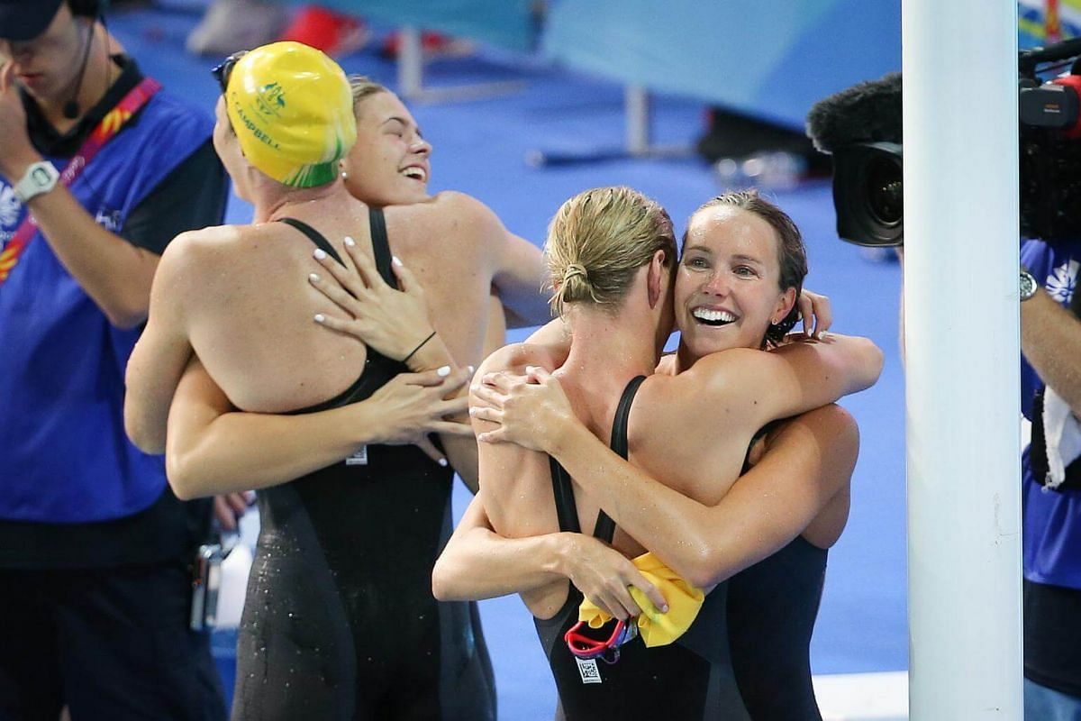 (From left) Emma McKeon, Bronte Campbell, Shayna Jack, Cate Campbell of Australia broke a world record at the women's 4x100m freestyle relay at the Optus Aquatic Centre in the Gold Coast Commonwealth Games 2018, on April 5, 2018.