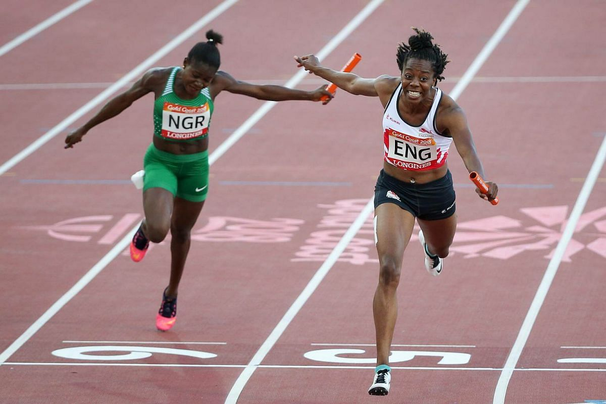 England's Lorraine Ugen (right) finishing first in the women's 4x100m relay race at Gold Coast Commonwealth Games 2018 in Australia, on April 14, 2018.