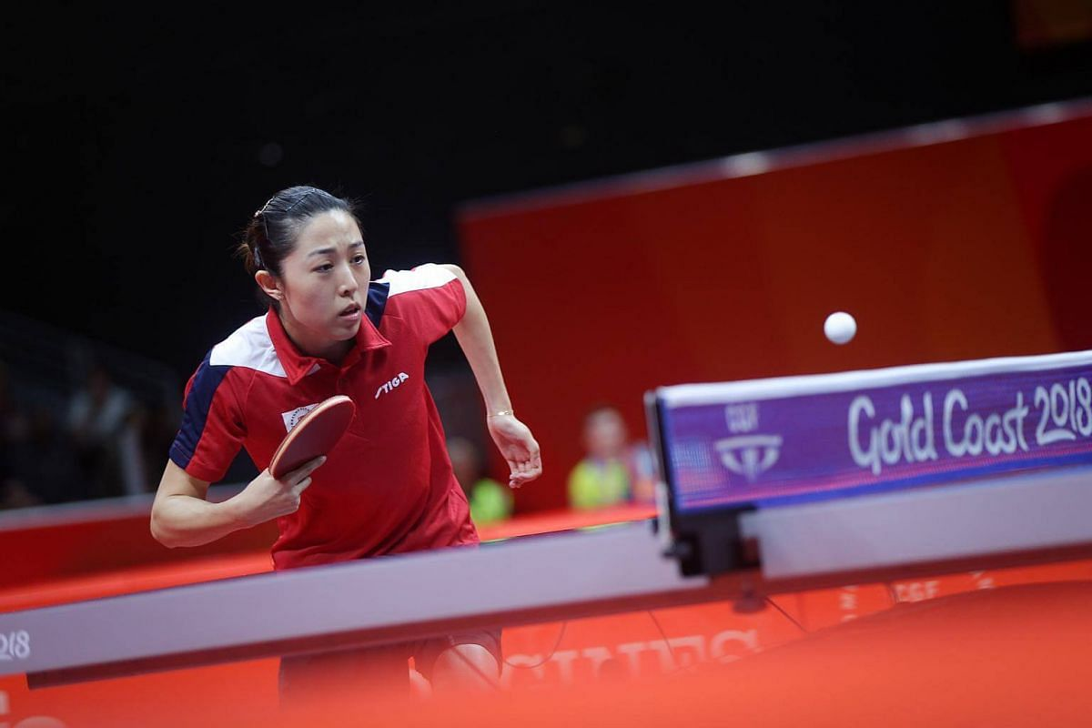 Singapore's Yu Mengyu playing the table tennis women's singles final at the Gold Coast Commonwealth Games 2018 in Australia, on April 14, 2018.