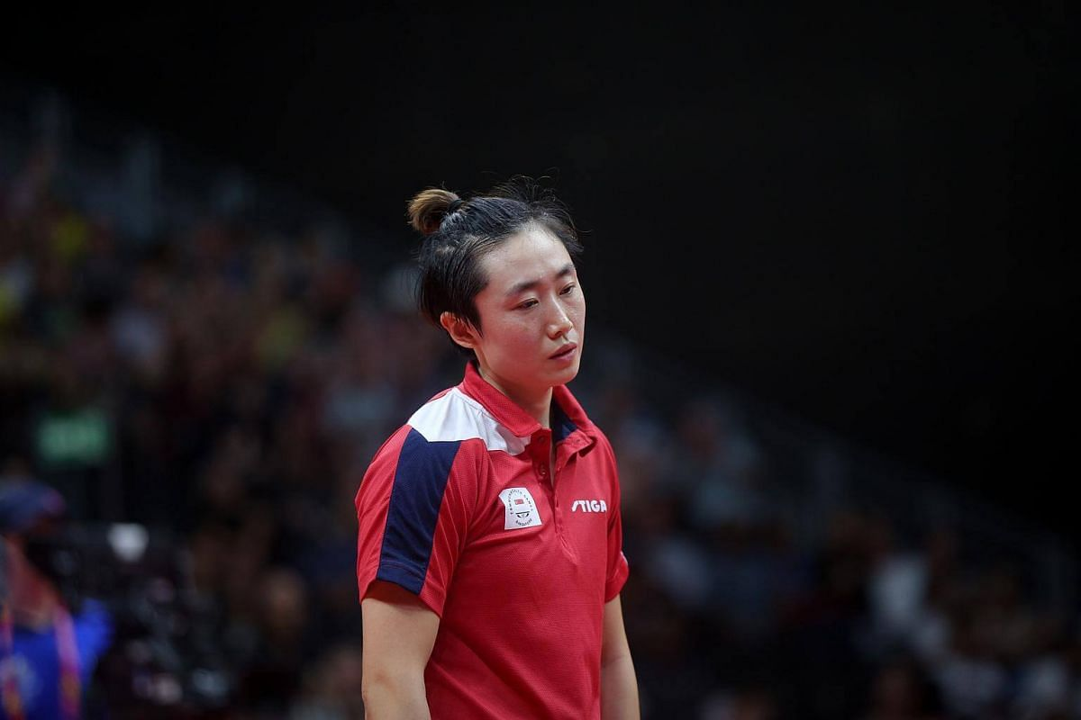 Feng Tianwei in her bronze medal match  at the Gold Coast Commonwealth Games 2018 in Australia, on April 14, 2018.