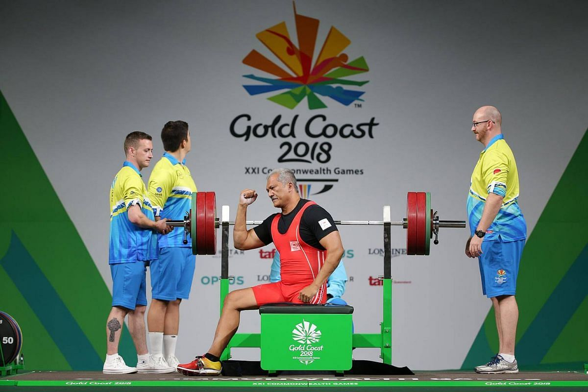 Singapore's Kalai Vanen in the para powerlifting men's heavyweight final at the Gold Coast Commonwealth Games 2018 in Australia, on April 10, 2018.