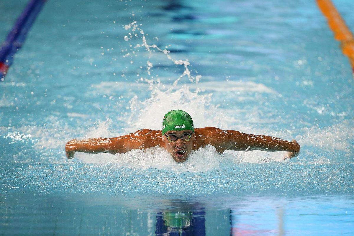 Chad Le Clos on his way to the gold medal in the men's 100m butterfly at the Gold Coast Commonwealth Games 2018 in Australia, on April 9, 2018.