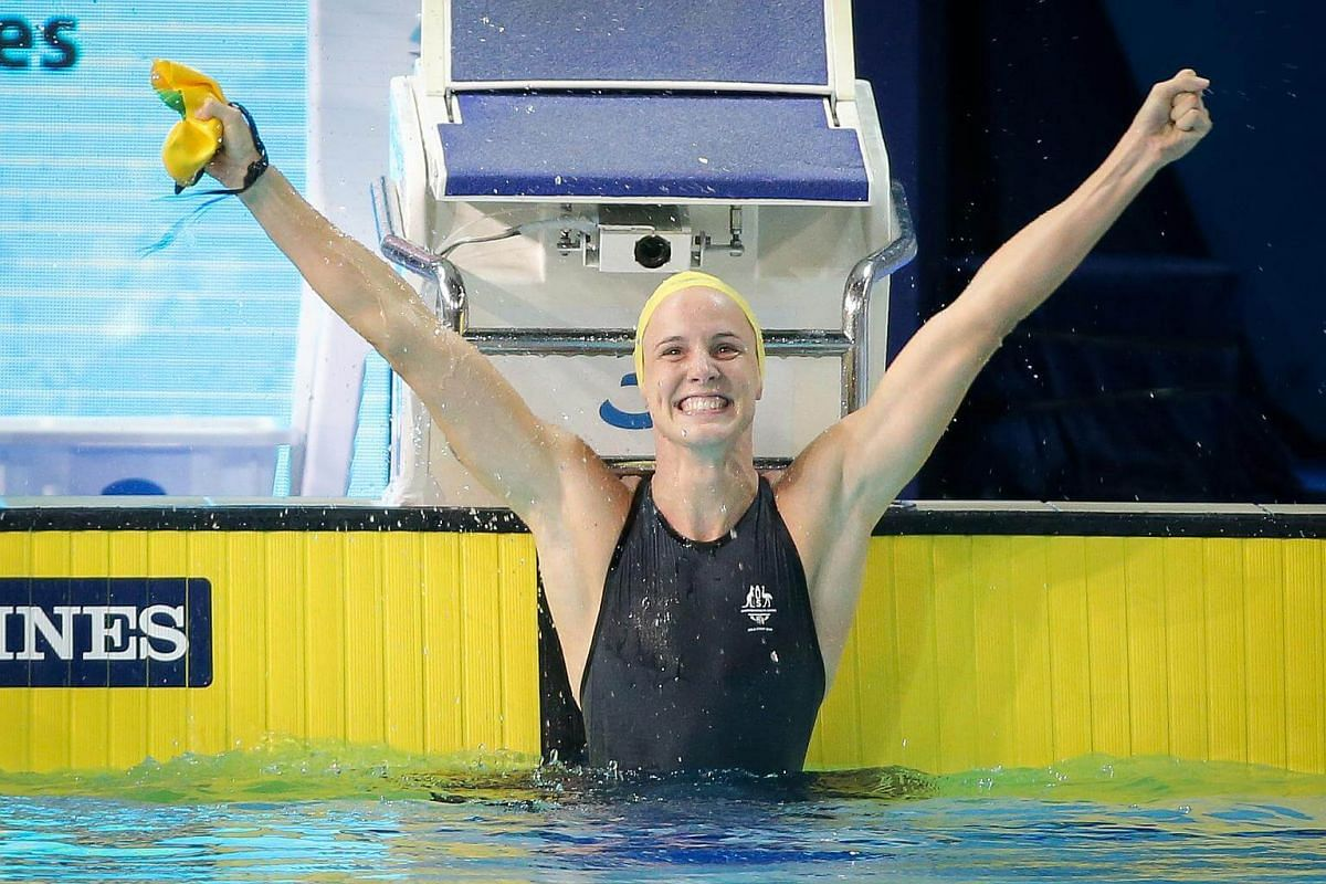 Bronte Campbell celerating after winning gold in the women's 100m freestyle at the Gold Coast Commonwealth Games 2018 in Australia, on April 9, 2018.