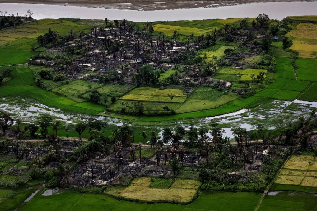 The remains of a torched Rohingya village is seen in this aerial photograph near Maungdaw, north of Rakhine State, Myanma, on Sept 27, 2017.
