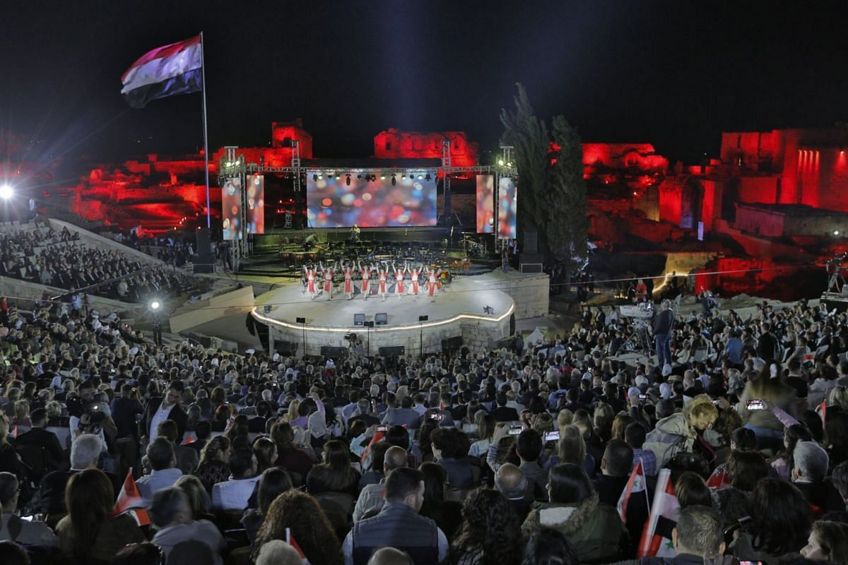 An Armenian band performs during an event held in the northern city of Aleppo, Syria, on 17 April 2018 as part of the Independence Day celebrations. PHOTO: EPA-EFE